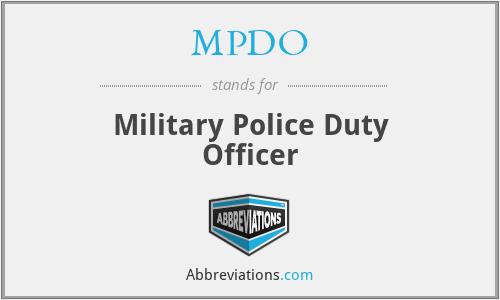 MPDO - Military Police Duty Officer