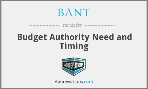 BANT - Budget Authority Need and Timing