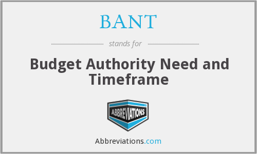 BANT - Budget Authority Need and Timeframe