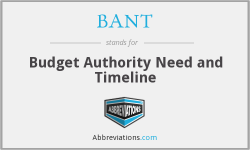 BANT - Budget Authority Need and Timeline