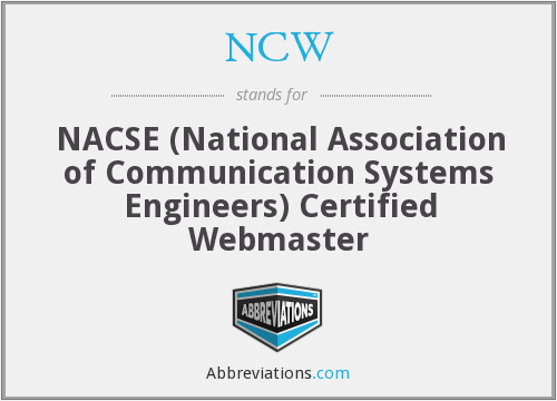 NCW - NACSE (National Association of Communication Systems Engineers) Certified Webmaster