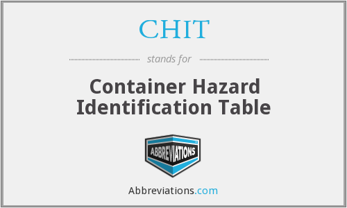 CHIT - Container Hazard Identification Table