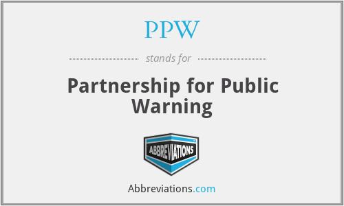 PPW - Partnership for Public Warning