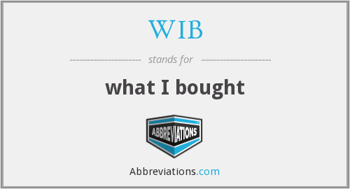 WIB - what I bought