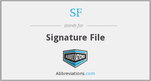 SF - Signature File