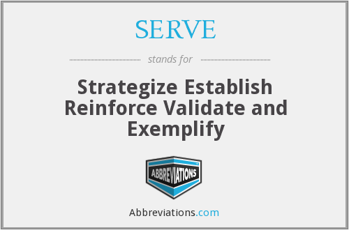 SERVE - Strategize Establish Reinforce Validate and Exemplify