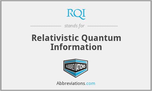 RQI - Relativistic Quantum Information