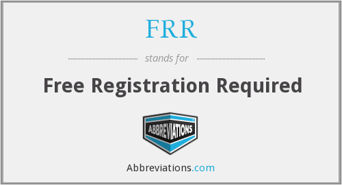 FRR - Free Registration Required