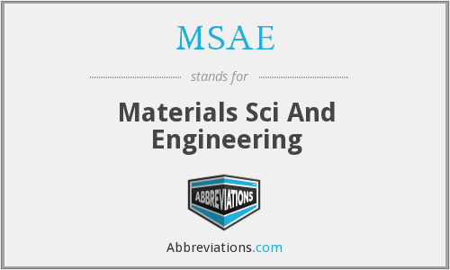 MSAE - Materials Sci And Engineering