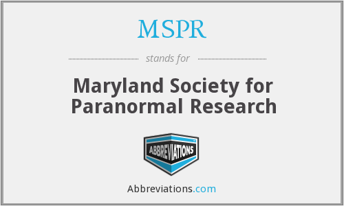 MSPR - Maryland Society for Paranormal Research