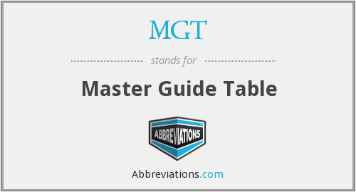 MGT - Master Guide Table