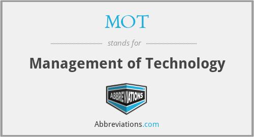 MOT - Management of Technology