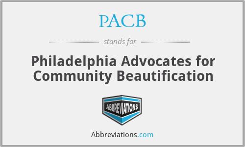 PACB - Philadelphia Advocates for Community Beautification