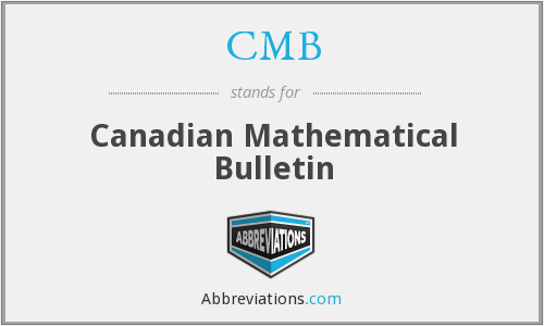 CMB - Canadian Mathematical Bulletin