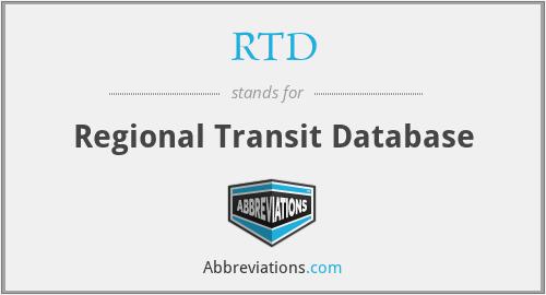 RTD - Regional Transit Database