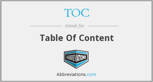 TOC - Table Of Content