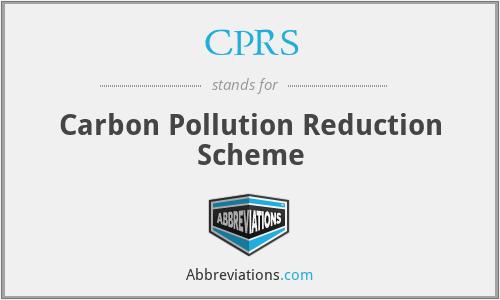 CPRS - Carbon Pollution Reduction Scheme