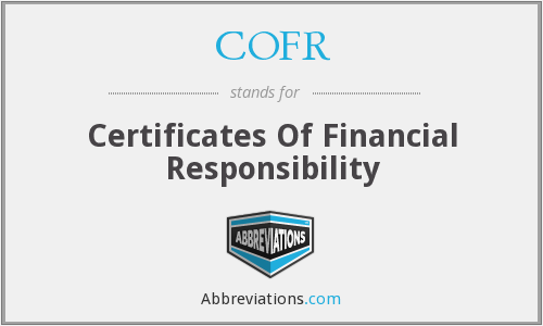 COFR - Certificates Of Financial Responsibility