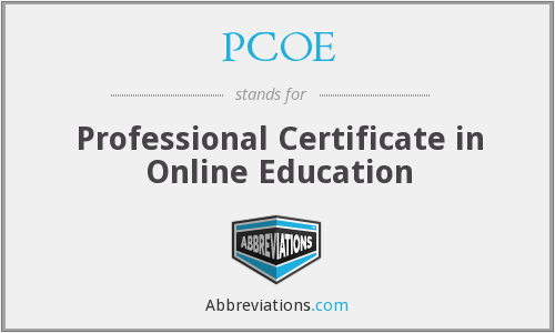 PCOE - Professional Certificate in Online Education