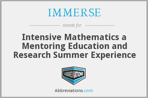 What does IMMERSE stand for?