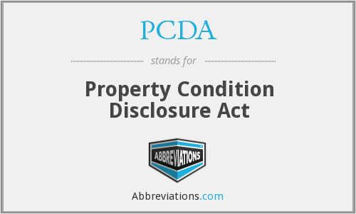 PCDA - Property Condition Disclosure Act