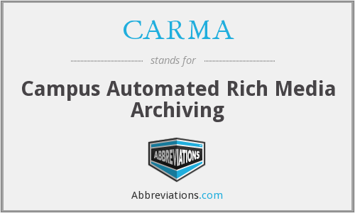 CARMA - Campus Automated Rich Media Archiving