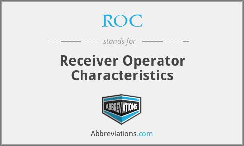 ROC - Receiver Operator Characteristics