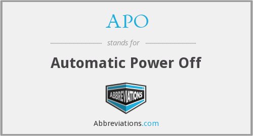 APO - Automatic Power Off