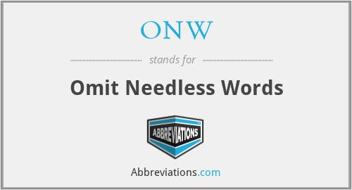 ONW - Omit Needless Words
