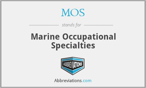 MOS - Marine Occupational Specialties