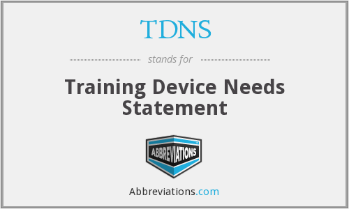 TDNS - Training Device Needs Statement
