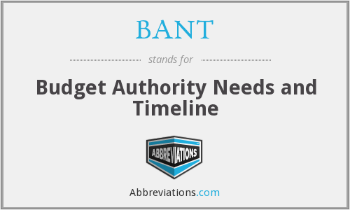 BANT - Budget Authority Needs and Timeline