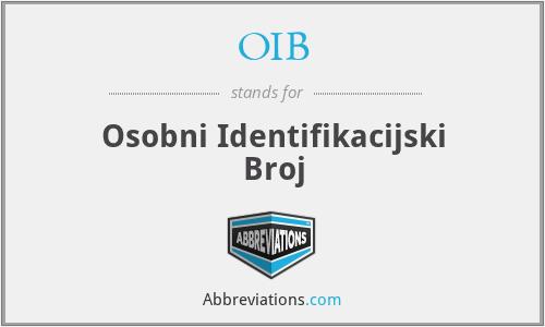 OIB - Osobni Identifikacijski Broj