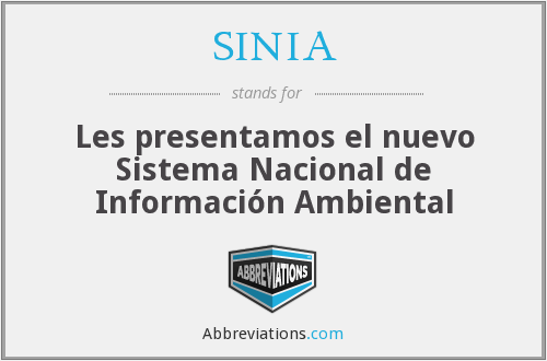 What does SINIA stand for?