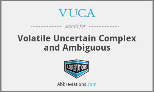 VUCA - Volatile Uncertain Complex and Ambiguous