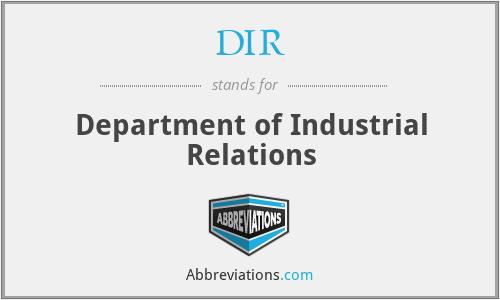 DIR - Department of Industrial Relations