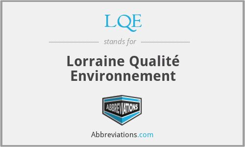 LQE - Lorraine Qualité Environnement
