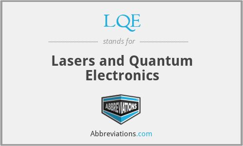 LQE - Lasers and Quantum Electronics