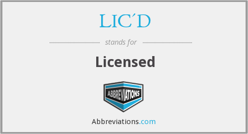 What is the abbreviation for licensed?