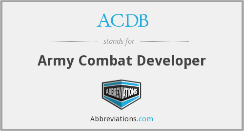 ACDB - Army Combat Developer
