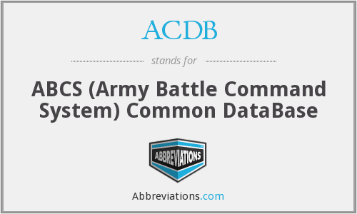 ACDB - ABCS (Army Battle Command System) Common DataBase