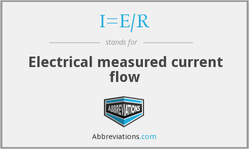 What does I=E/R stand for?