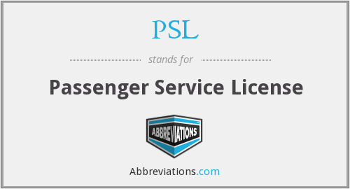 PSL - Passenger Service License