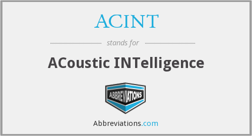 ACINT - Acoustic Intelligence
