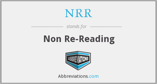 NRR - Non Re-Reading