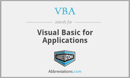 VBA - Visual Basic for Applications