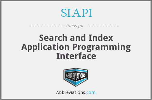 SIAPI - Search and Index Application Programming Interface