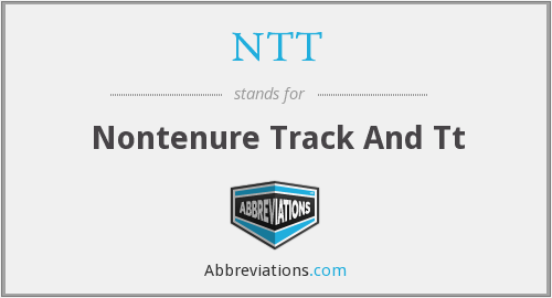 NTT - Nontenure Track And Tt