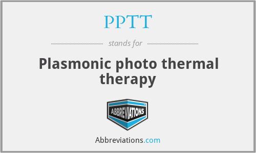 PPTT - Plasmonic photo thermal therapy
