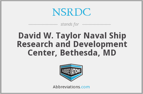 What does NSRDC stand for?